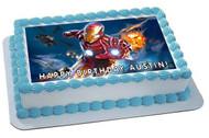Iron Man Edible Birthday Cake Topper OR Cupcake Topper, Decor