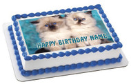 Kitten Cat Edible Birthday Cake Topper OR Cupcake Topper, Decor