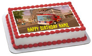 Lego City Fire Engine Edible Birthday Cake Topper OR Cupcake Topper, Decor