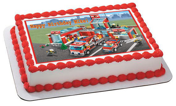 Lego City Fire Station Edible Birthday Cake Topper OR Cupcake Topper, Decor