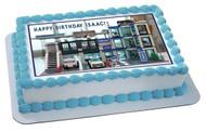 Lego City Police Station 1 Edible Birthday Cake Topper OR Cupcake Topper, Decor