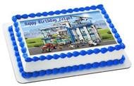 Lego City Police Station 2 Edible Birthday Cake Topper OR Cupcake Topper, Decor