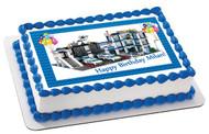 Lego City Police Station 4 Edible Birthday Cake Topper OR Cupcake Topper, Decor
