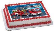 Lego Fire Truck Edible Birthday Cake Topper OR Cupcake Topper, Decor