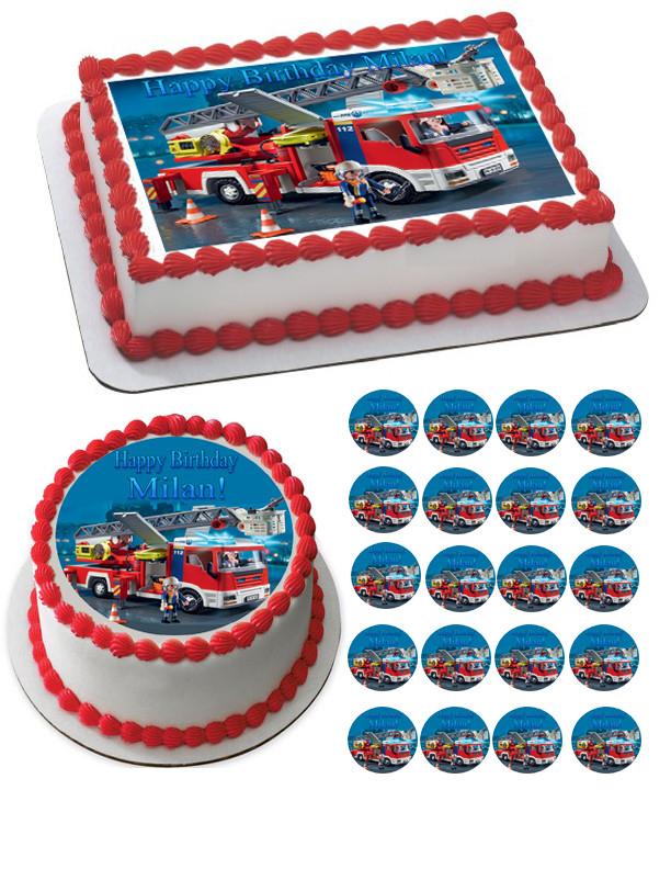 Swell Lego Fire Truck Edible Birthday Cake Topper Personalised Birthday Cards Beptaeletsinfo