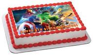 Lego Marvel Superheroes 1 Edible Birthday Cake Topper OR Cupcake Topper, Decor