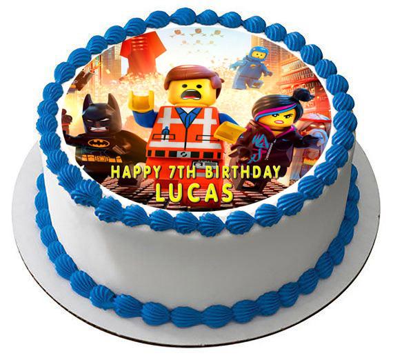 Fantastic Lego Movie Edible Birthday Cake Topper Funny Birthday Cards Online Elaedamsfinfo
