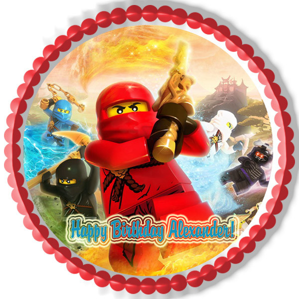 Lego Ninjago 3 Edible Birthday Cake Topper OR Cupcake Decor