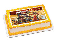 Lego Ninjago Temple of Fire Edible Birthday Cake Topper OR Cupcake Topper, Decor