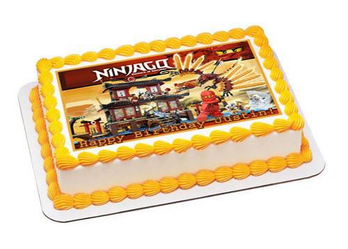 Outstanding Lego Ninjago Temple Of Fire Edible Birthday Cake Topper Funny Birthday Cards Online Elaedamsfinfo