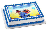 Little Blue Truck Edible Birthday Cake Topper OR Cupcake Topper, Decor