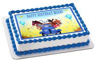Little Blue Truck Edible Birthday Cake Topper OR Cupcake Topper, Decor