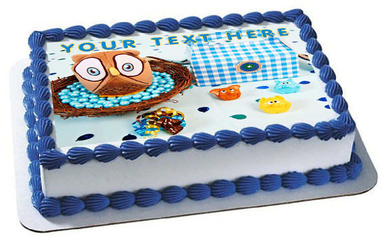 Admirable Look Whoos 1 Blue Owl Edible Birthday Cake Topper Personalised Birthday Cards Akebfashionlily Jamesorg
