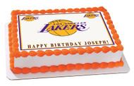 Los Angeles LA Lakers Edible Birthday Cake Topper OR Cupcake Topper, Decor