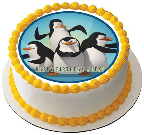 Madagascar Pingu Edible Birthday Cake Topper