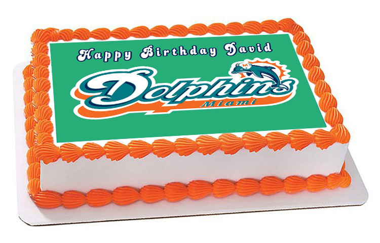 Prime Miami Dolphins Edible Birthday Cake Topper Personalised Birthday Cards Paralily Jamesorg