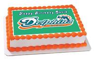 Miami Dolphins - Edible Cake Topper OR Cupcake Topper, Decor