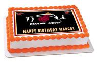 Miami Heat Edible Birthday Cake Topper OR Cupcake Topper, Decor