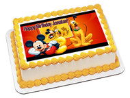 Mickey and Pluto Edible Birthday Cake Topper OR Cupcake Topper, Decor