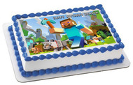 MINECRAFT Characters 1 Edible Birthday Cake Topper OR Cupcake Topper, Decor