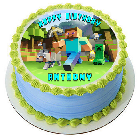 Minecraft Characters 2 Edible Birthday Cake Topper