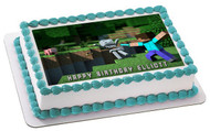 MINECRAFT Characters 3 Edible Birthday Cake Topper OR Cupcake Topper, Decor