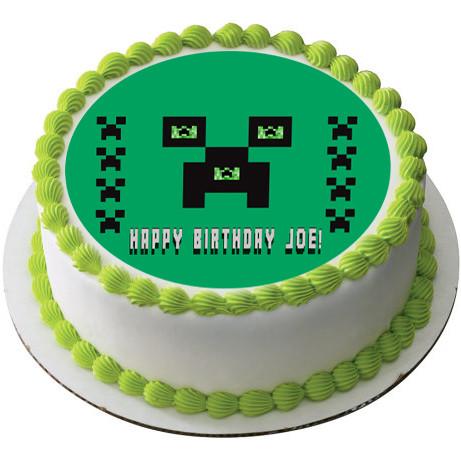 Pleasing Minecraft Creeper Edible Birthday Cake Topper Personalised Birthday Cards Paralily Jamesorg