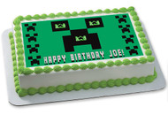 MINECRAFT Creeper Edible Birthday Cake Topper OR Cupcake Topper, Decor