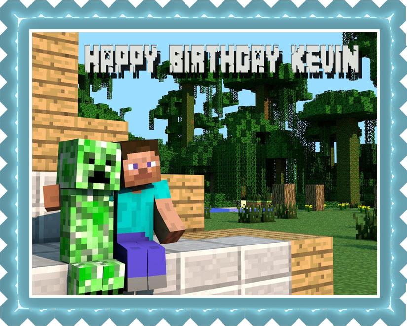 Swell Minecraft Creeper Steve Edible Birthday Cake Topper Funny Birthday Cards Online Eattedamsfinfo