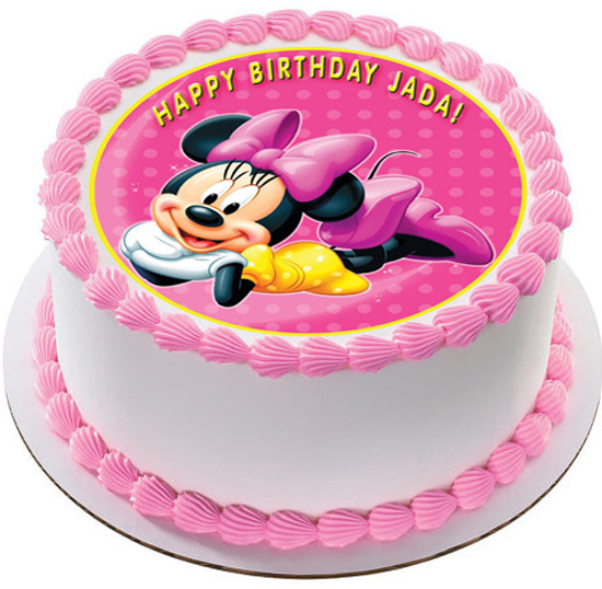Marvelous Minnie Mouse Edible Birthday Cake Topper Funny Birthday Cards Online Elaedamsfinfo