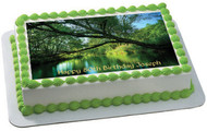 Nature - River Background Edible Birthday Cake Topper OR Cupcake Topper, Decor