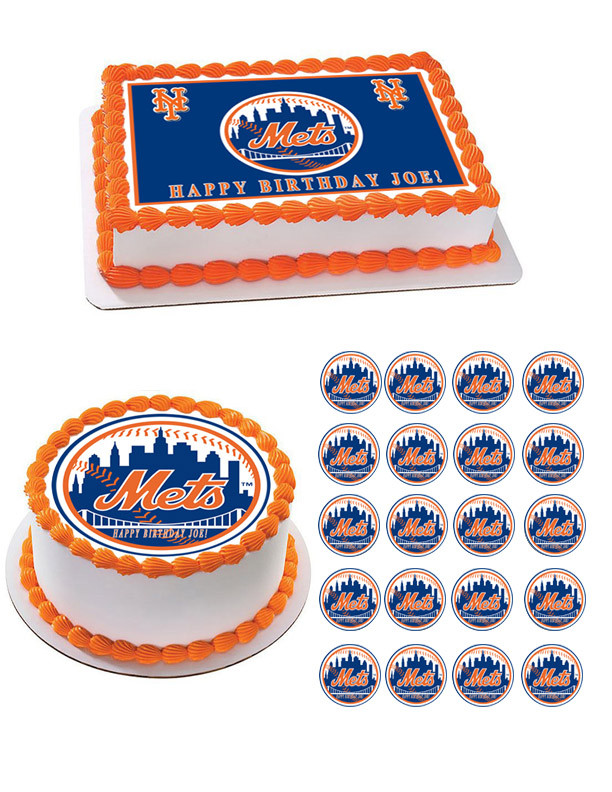 New Your NY Mets Edible Birthday Cake Topper