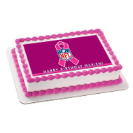 NFL Breast Cancer Edible Birthday Cake Topper OR Cupcake Topper, Decor
