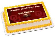 Oklahoma Sooners University Edible Birthday Cake Topper OR Cupcake Topper, Decor