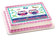 Patchwork Owls Edible Birthday Cake Topper OR Cupcake Topper, Decor