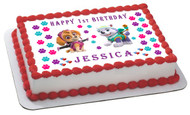 Paw Patrol Everest and Skye - Edible Cake Topper OR Cupcake Topper, Decor