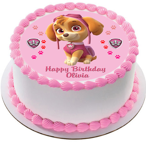 Paw Patrol Skye 3 Edible Birthday Cake Topper