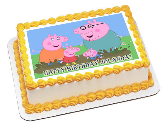 Groovy Peppa Pig 2 Edible Birthday Cake Topper Funny Birthday Cards Online Overcheapnameinfo