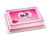 Pink Panda Edible Birthday Cake Topper OR Cupcake Topper, Decor
