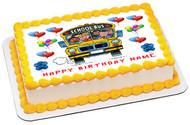 School Bus Edible Birthday Cake Topper OR Cupcake Topper, Decor