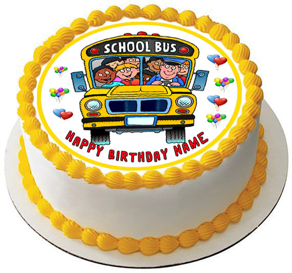 Strange School Bus Edible Birthday Cake Topper Personalised Birthday Cards Cominlily Jamesorg