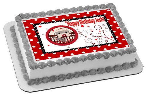Groovy Sock Monkey Theme Red Edible Birthday Cake Topper Funny Birthday Cards Online Barepcheapnameinfo