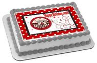 SOCK MONKEY THEME Red Edible Birthday Cake Topper OR Cupcake Topper, Decor