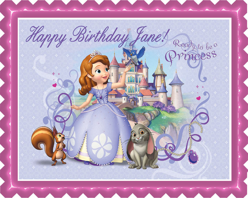 Astonishing Sofia The First Edible Birthday Cake Topper Funny Birthday Cards Online Fluifree Goldxyz