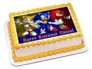 Sonic Edible Birthday Cake Topper OR Cupcake Topper, Decor