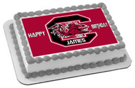 South Caroline Gamecocks Edible Birthday Cake Topper OR Cupcake Topper, Decor