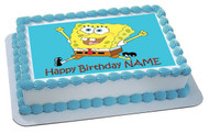 Spongbob Edible Birthday Cake Topper OR Cupcake Topper, Decor