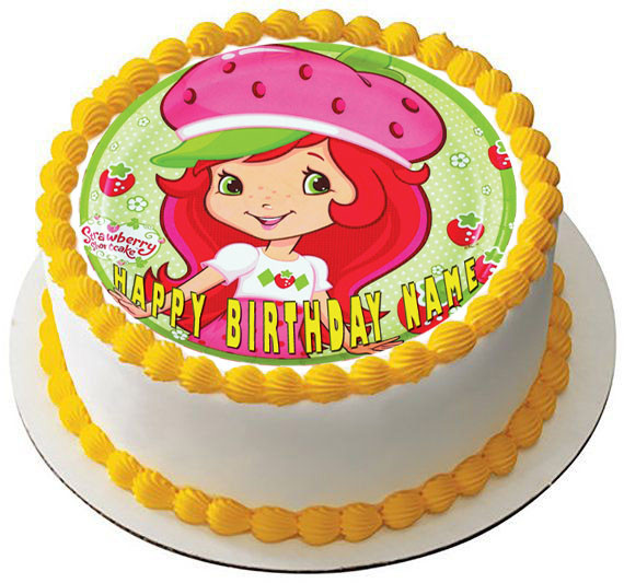 Pleasing Strawberry Shortcake Edible Birthday Cake Topper Funny Birthday Cards Online Elaedamsfinfo