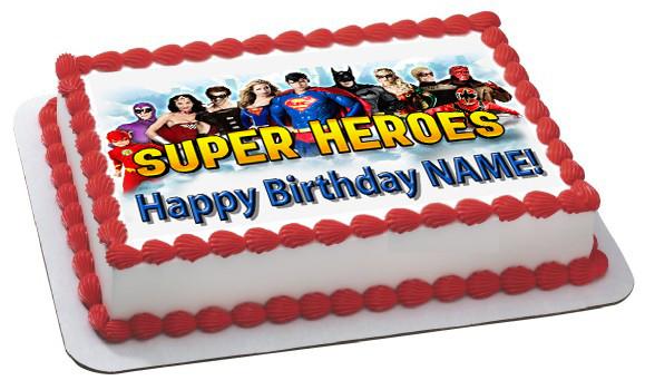 Magnificent Superheroes 2 Edible Birthday Cake Topper Funny Birthday Cards Online Necthendildamsfinfo