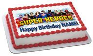Superheroes 2 Edible Birthday Cake Topper OR Cupcake Topper, Decor
